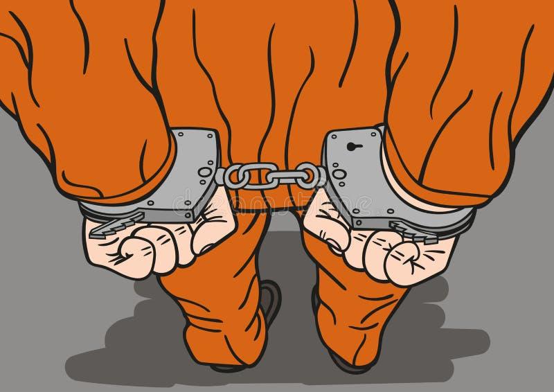 Prisonnier dans des menottes illustration de vecteur
