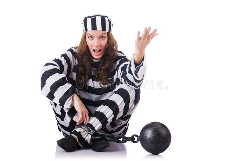 Prisonnier Dans L Uniforme Rayé Image libre de droits