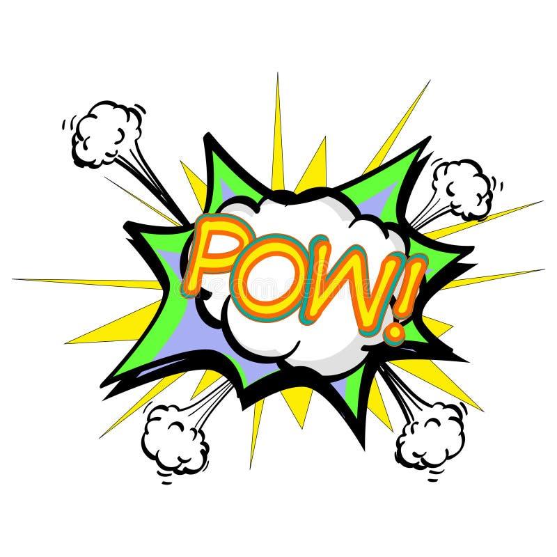 Prisonnier de guerre, bulle colorée de la parole et explosions dans le style d'art de bruit Éléments des bandes dessinées de conc illustration de vecteur