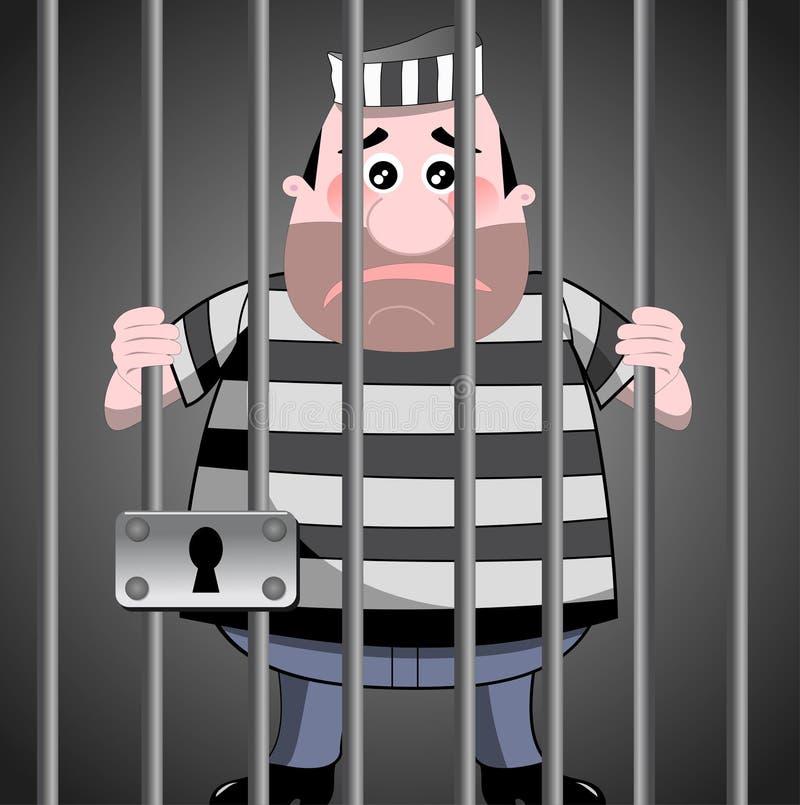 Prisonnier derrière des bars illustration stock