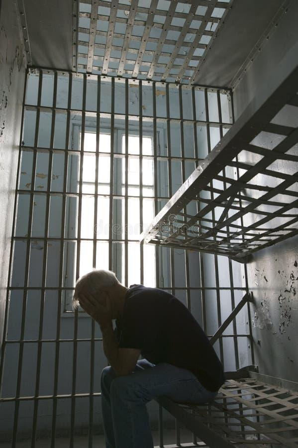 Prisonnier en cellule images libres de droits