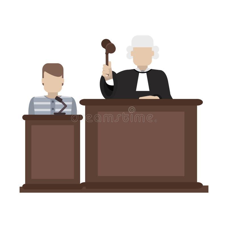 Prisonnier et juge dans la salle d'audience illustration de vecteur