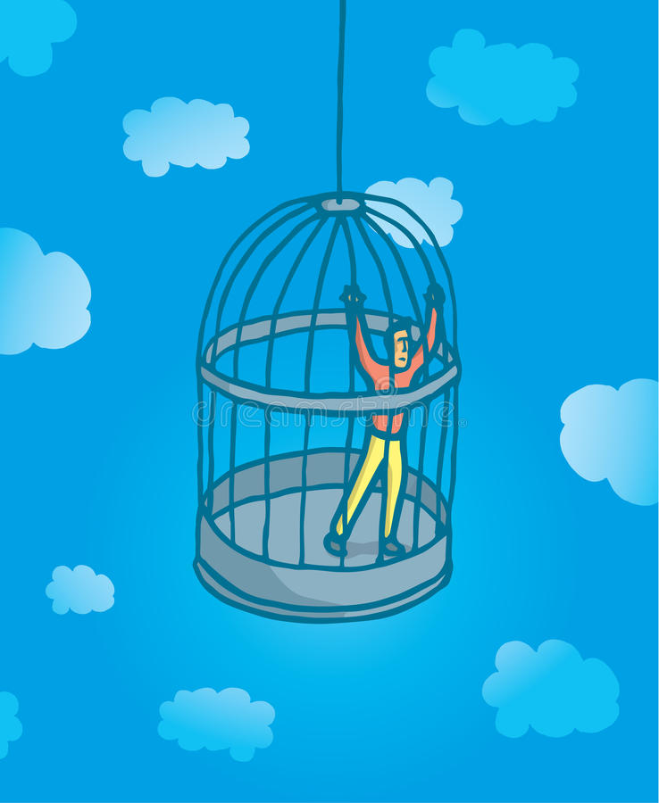 Prisonnier minuscule d'homme sur la cage à oiseaux illustration libre de droits