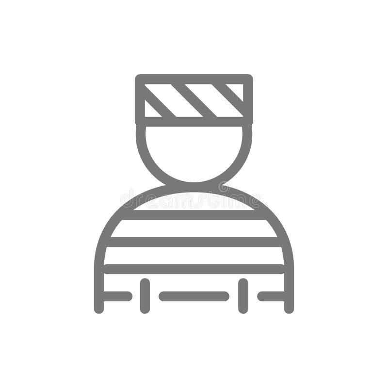 Prisonnier simple, bandit, voyou, ligne icône de bandit Conception d'illustration de vecteur de symbole et de signe D'isolement s illustration stock