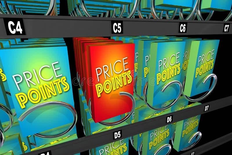Prispunktprodukter som köper shoppingjämförelsevaruautomaten stock illustrationer