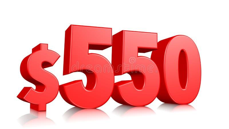 Prissymbol för 550$ femhundra och femtio rött textnummer 3d att framföra med dollartecknet på vit bakgrund stock illustrationer