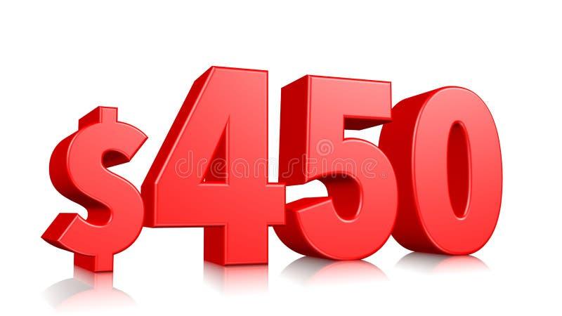 Prissymbol för 450$ fyrahundra och femtio rött textnummer 3d att framföra med dollartecknet på vit bakgrund stock illustrationer