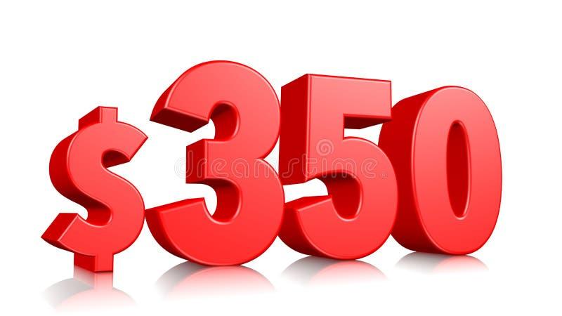 prissymbol för 350$ trehundra och femtio rött textnummer 3d att framföra med dollartecknet på vit bakgrund royaltyfri illustrationer