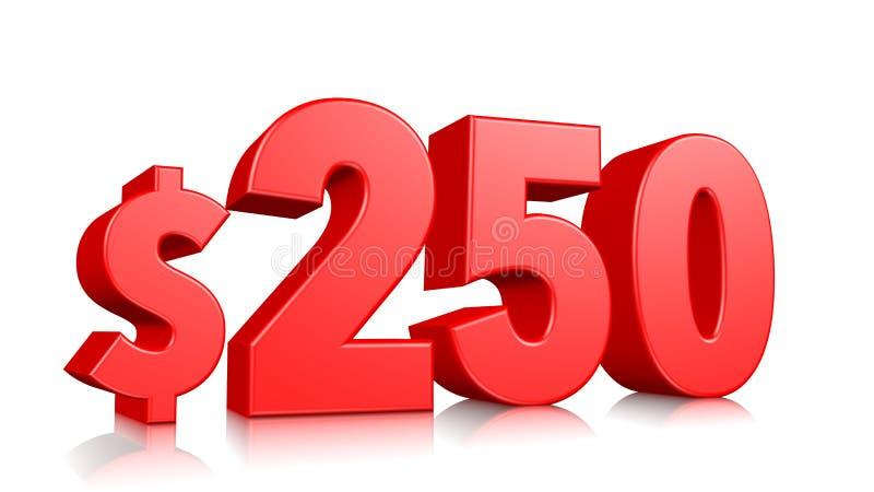 prissymbol för 250$ tvåhundra och femtio rött textnummer 3d att framföra med dollartecknet på vit bakgrund stock illustrationer