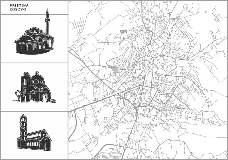 Pristina city map with hand-drawn architecture icons vector illustration