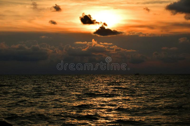 Golden sunsets look the best when you can savor it in silence royalty free stock photography