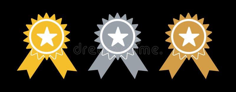 Prisutmärkelserna Guld, silver och bronsmedaljer, enkel plan design vektor illustrationer