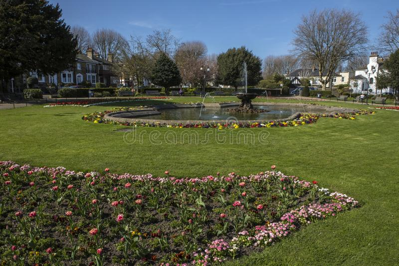 Prittlewell Square in Southend-on-Sea. The entrance to the beautiful Prittlewell Square park in Southend-on-Sea, Essex royalty free stock photo