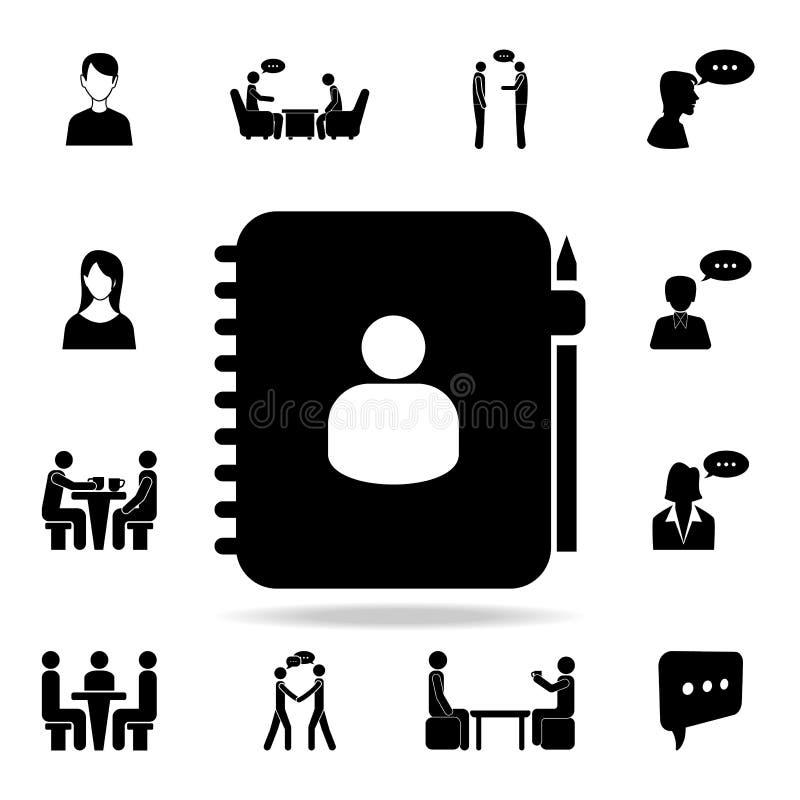 privé agendapictogram Gedetailleerde reeks gesprekspictogrammen Premie grafisch ontwerp Één van de inzamelingspictogrammen voor w royalty-vrije illustratie