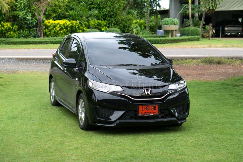 Privé auto, Honda Jazz of de geschikte Foto van Honda in Trat, Thailand royalty-vrije stock afbeeldingen