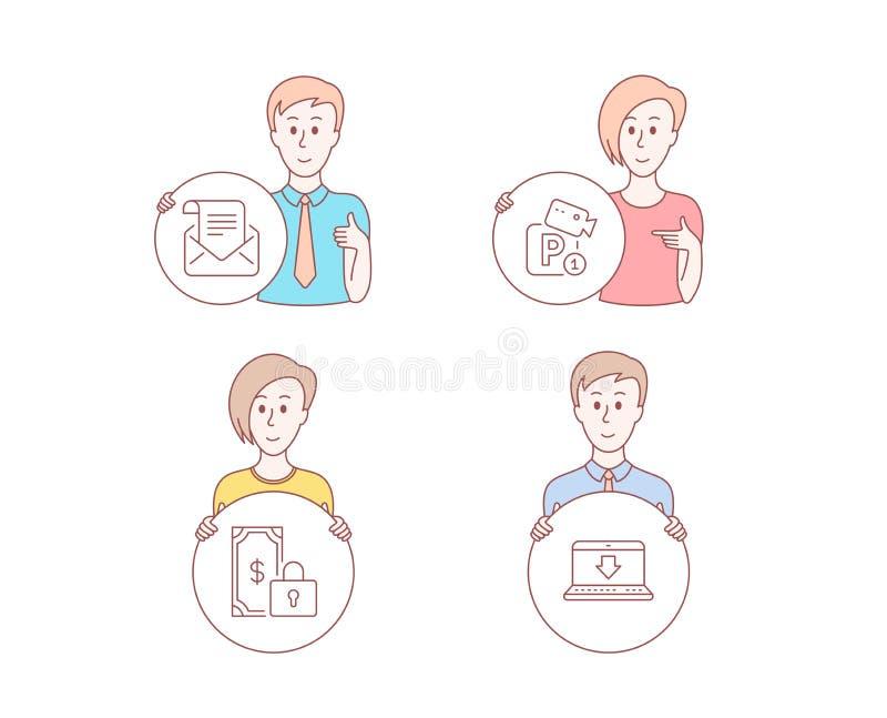 Privé betaling, Postbulletin en de pictogrammen van de Parkerenveiligheid Internet die teken downloaden Vector stock illustratie