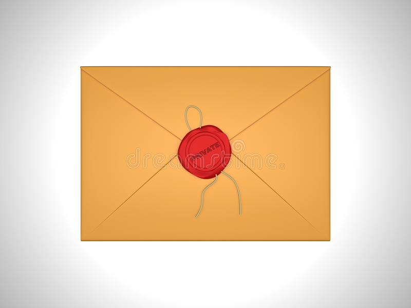 Privé Brief die met rood zegelwas wordt verzegeld stock illustratie