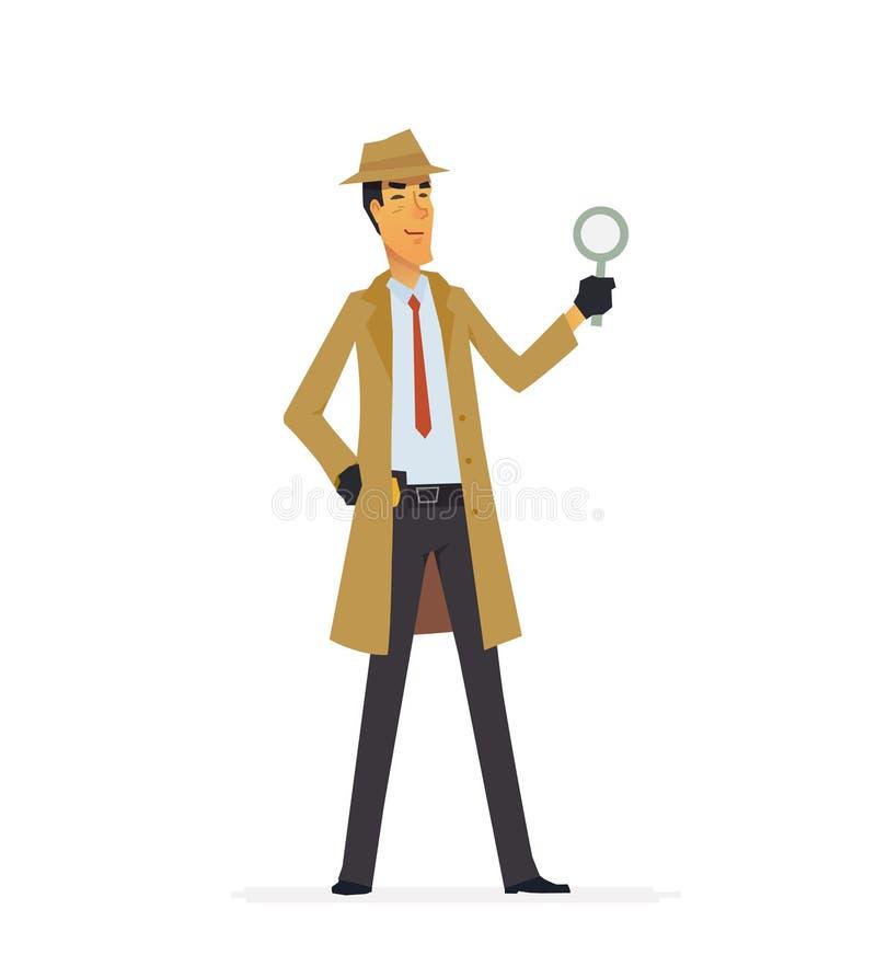 Privé-detective - de karaktersillustratie van beeldverhaalmensen royalty-vrije illustratie