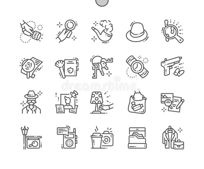 Privé-detective goed-Bewerkte Pictogrammen 30 van de Pixel Perfecte Vector Dunne Lijn 2x-Net voor Webgrafiek en Apps royalty-vrije illustratie