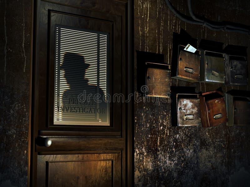 Privé-detective` s bureau royalty-vrije illustratie