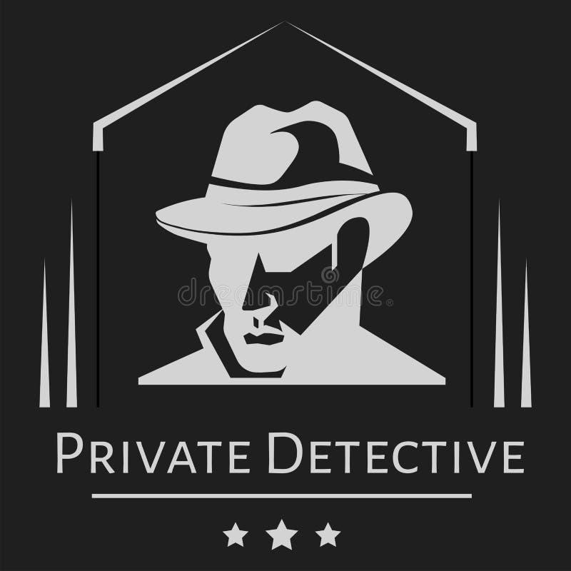 Privé-detectiveembleem van de vectormens in hoed voor het agentschap van de onderzoeksdienst stock illustratie