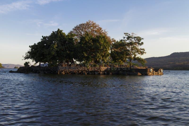 Privé eiland in het meer van Nicaragua stock fotografie