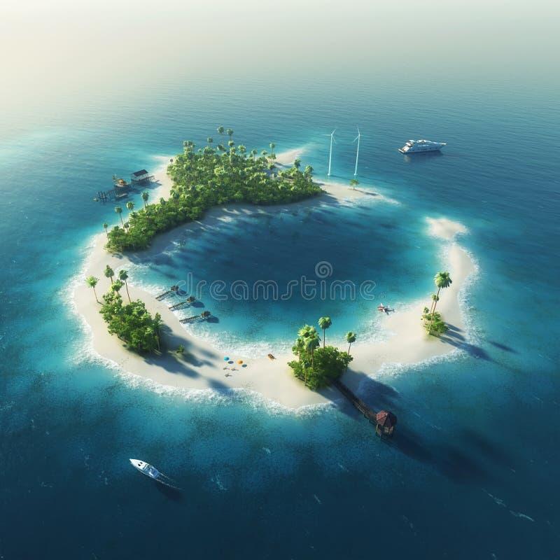 Privé eiland Het tropische eiland van de paradijszomer royalty-vrije stock foto's