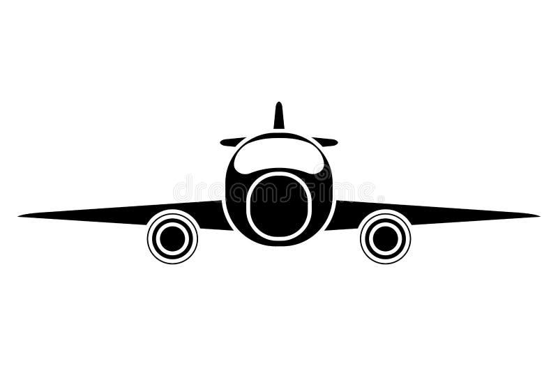 Privé het vervoer vooraanzicht van de silhouetjet royalty-vrije illustratie