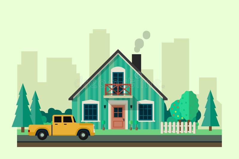Privé huis stock illustratie