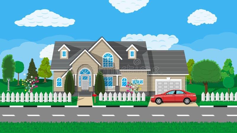 Privé huis in de voorsteden met auto stock illustratie