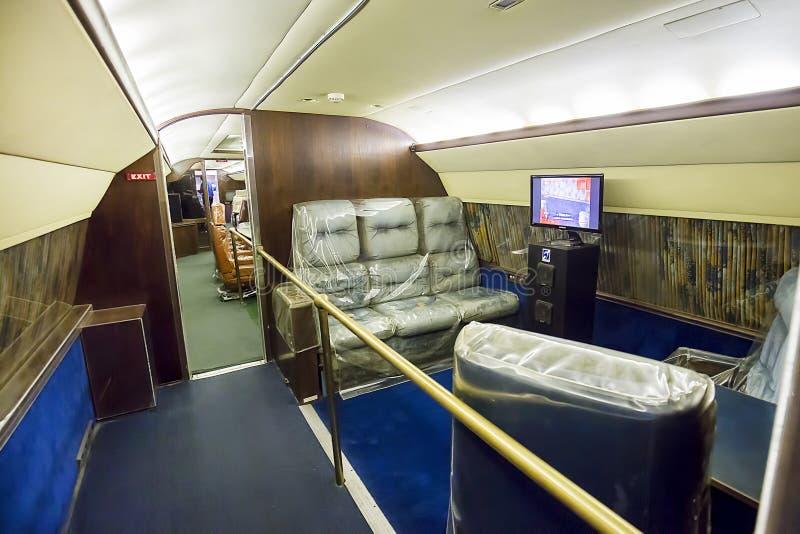 Privé Jet Lounge Area van Elvis Presley stock afbeelding