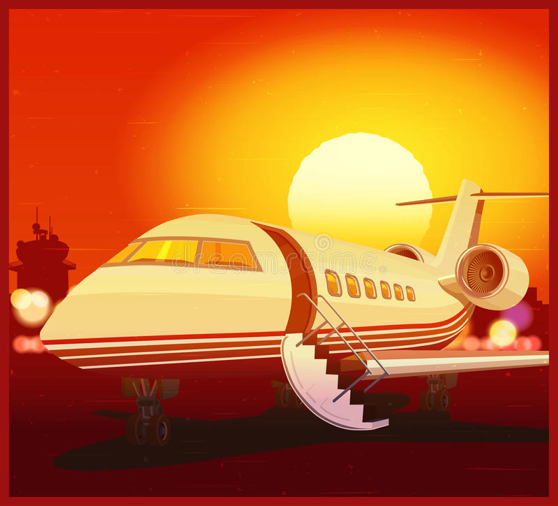 Privé luchtvaart en zonsondergang royalty-vrije illustratie