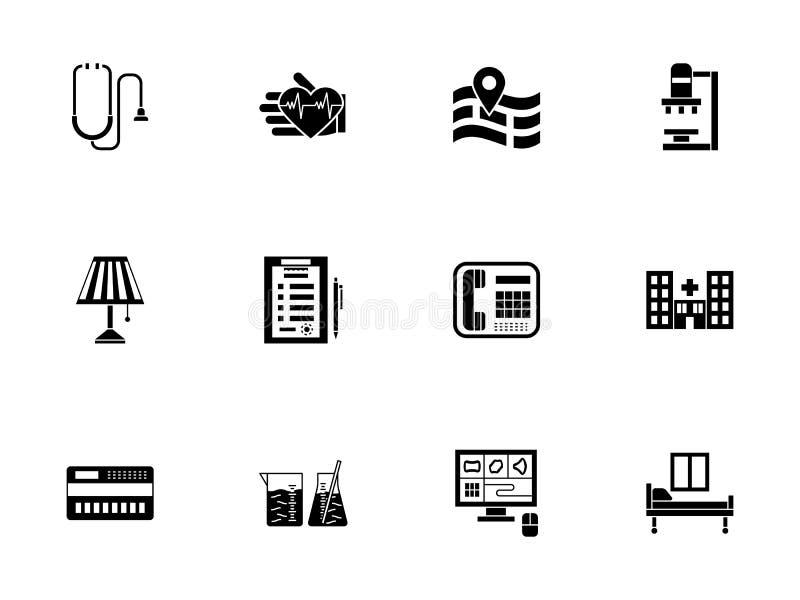 Privé medische geplaatste kliniek glyph pictogrammen vector illustratie