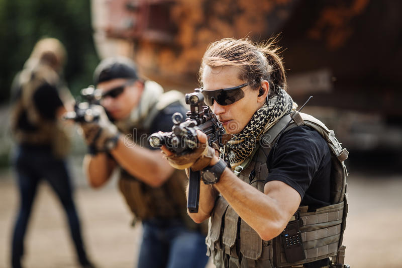 Privé Militaire Contractant tijdens de specifieke actie royalty-vrije stock foto's