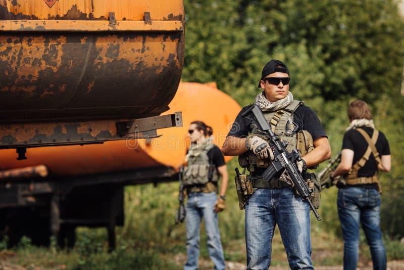 Privé Militaire Contractant tijdens de specifieke actie stock foto
