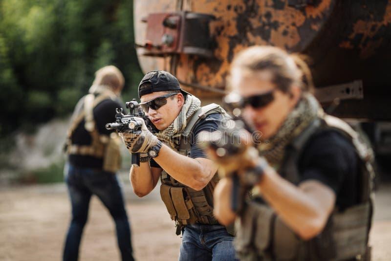 Privé Militaire Contractant tijdens de specifieke actie stock fotografie