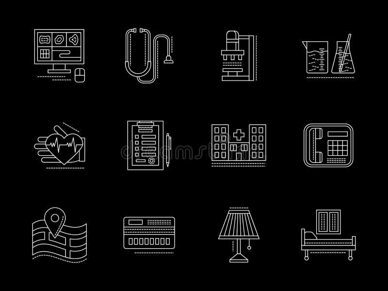 Privé vlakke geplaatste de lijnpictogrammen van de kliniekdiensten royalty-vrije illustratie