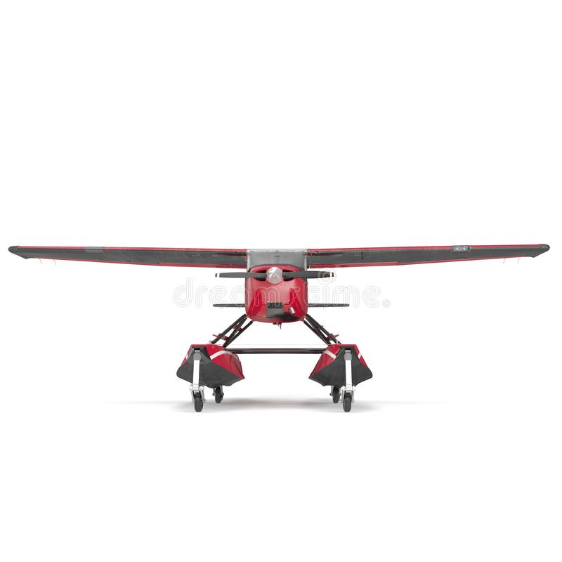 Privé Watervliegtuig op wit Front View 3D Illustratie stock illustratie