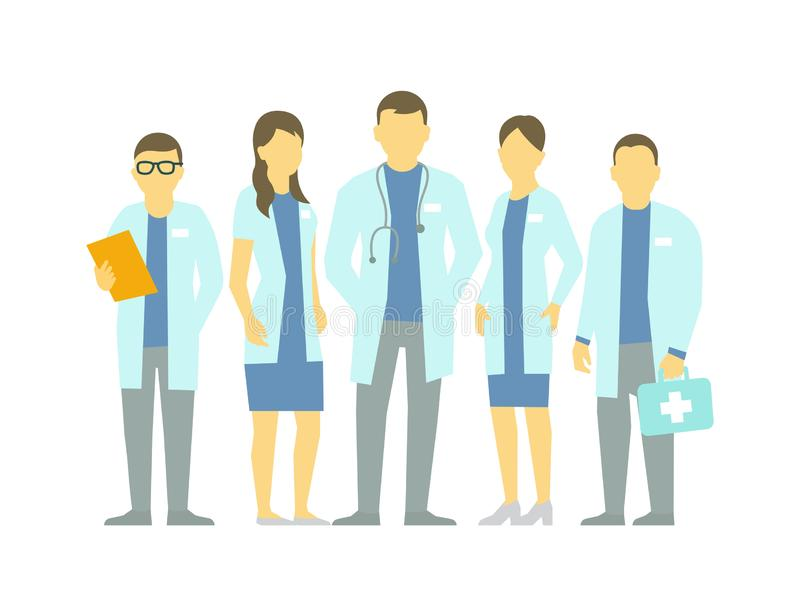 Priv? kliniek Een groep artsen De het ziekenhuis medische diensten Behandeling en gezondheid Een team van artsen Vlakke vector stock illustratie