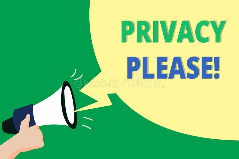 Privacidad del texto de la escritura de la palabra por favor Concepto del negocio para pedir que alguien respete su espacio perso ilustración del vector