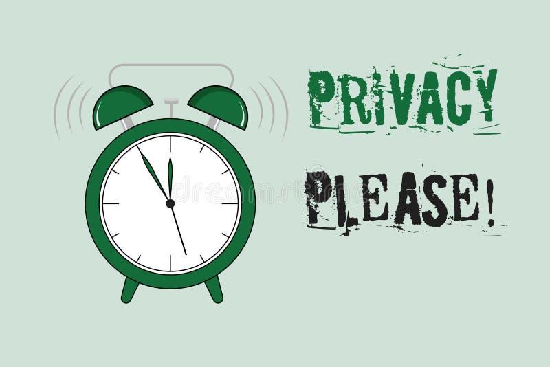 Privacidad del texto de la escritura de la palabra por favor Concepto del negocio para pedir que alguien respete su espacio perso stock de ilustración