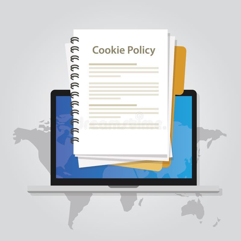 Privacidade da informação da política da cookie no Web site que recolhe dados do visitante ilustração do vetor