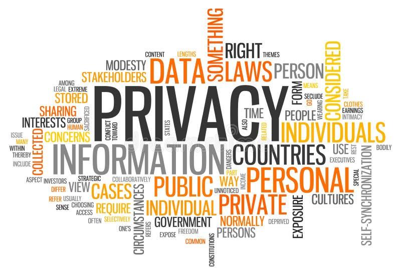 Privacidade da nuvem da palavra ilustração royalty free