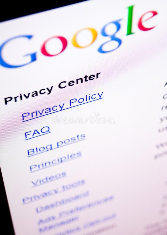 Privacidade de Google imagens de stock
