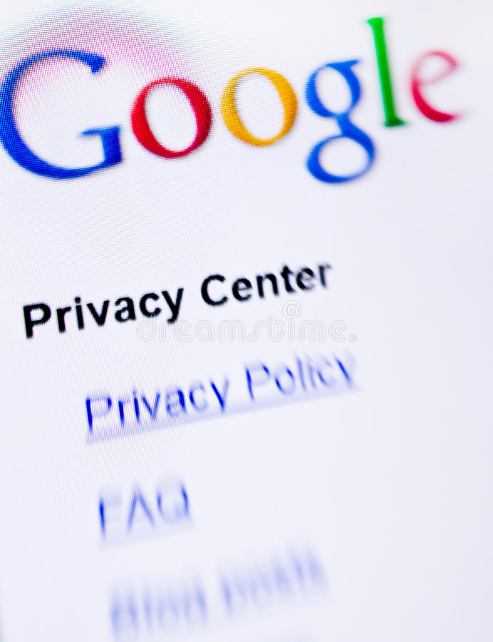 Privacidade de Google fotografia de stock royalty free