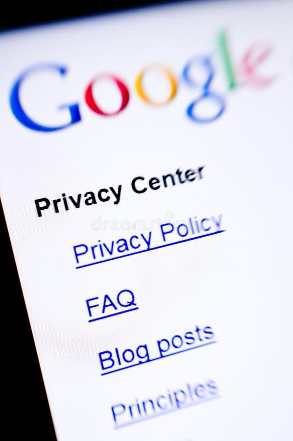 Privacidade de Google imagem de stock