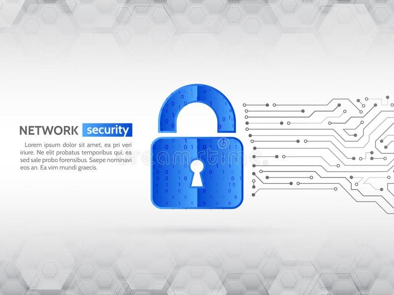 Privacidade do sistema, segurança da rede Elevação abstrata - placa de circuito da tecnologia ilustração do vetor
