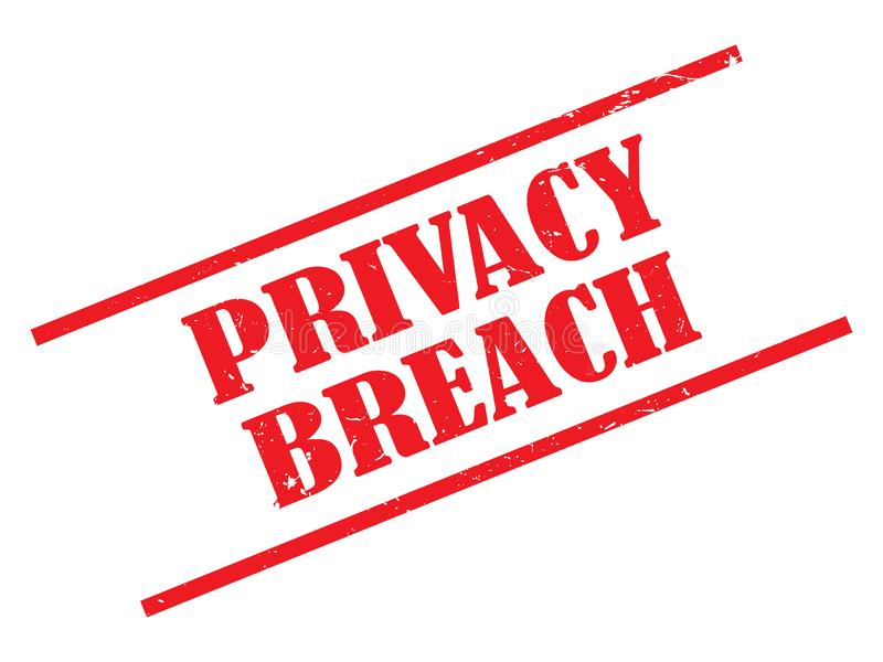 Privacy breach. Illustrated in red grunge text graphics on white stock illustration