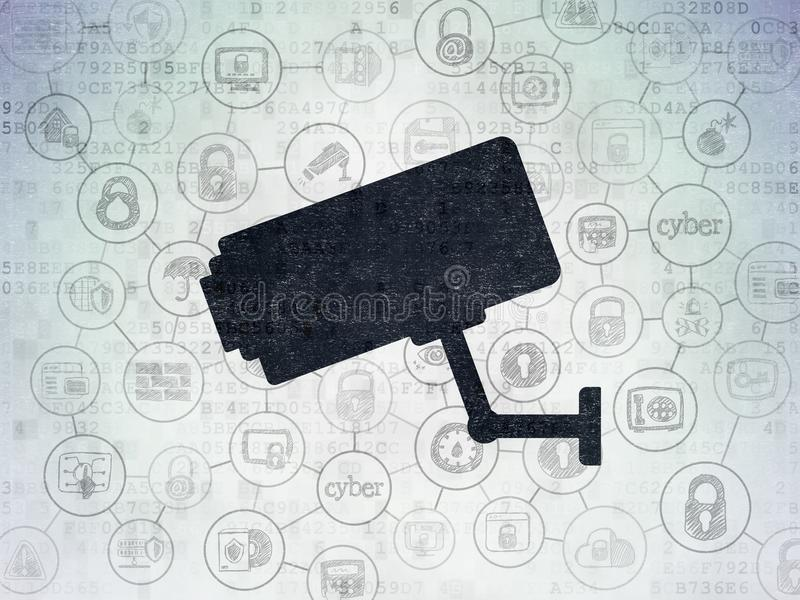 Privacy concept: Cctv Camera on Digital Data Paper background. Privacy concept: Painted black Cctv Camera icon on Digital Data Paper background with Scheme Of vector illustration