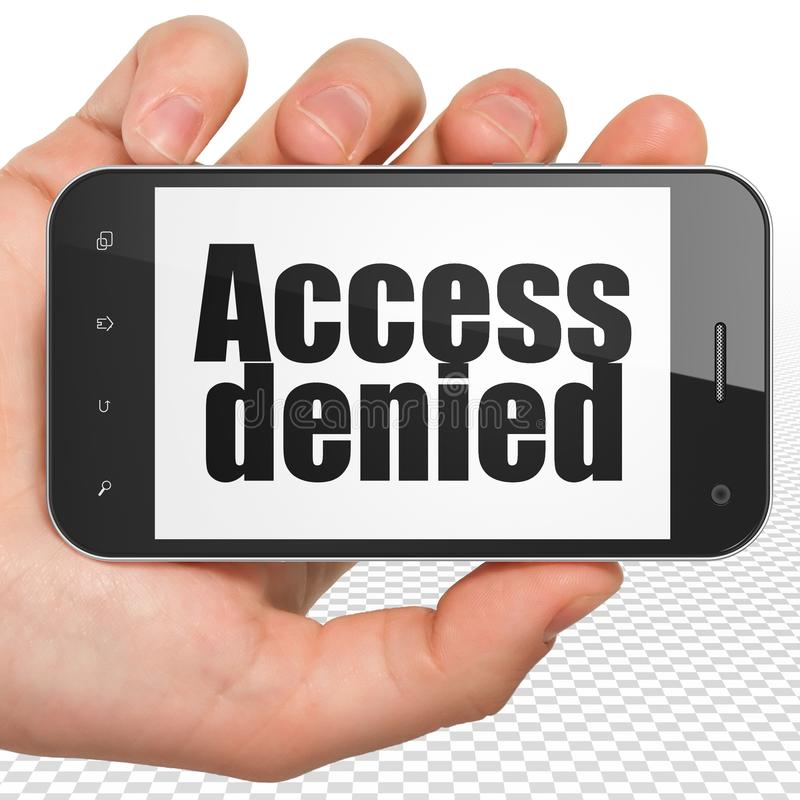 Privacy concept: Hand Holding Smartphone with Access Denied on display. Privacy concept: Hand Holding Smartphone with black text Access Denied on display, 3D stock images